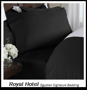 Royal Hotel's Solid Black 1200-Thread-Count 4pc King Bed Sheet Set 100-Percent Egyptian Cotton, Sateen Solid, Deep Pocket, 1200 TC