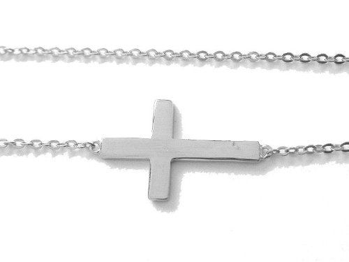 .925 Sterling Silver Sideways Cross Necklace Adjustable Chain 18
