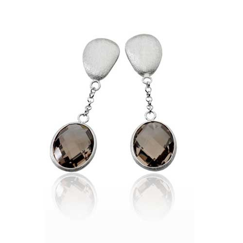 GEM LIGHT SMOKEY OVAL DROP MATTE EARRINGS