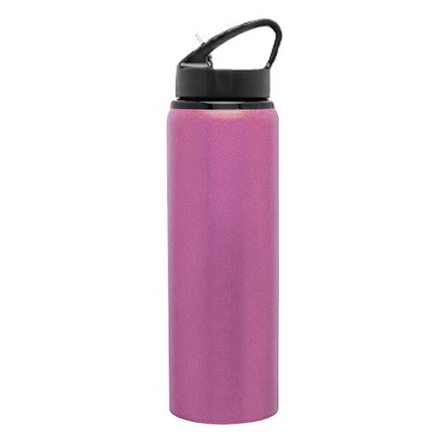 Cold Drink Single Wall Aluminum Sport Water Bottle - Flip-Up Spout, 28Oz. Capacity - Pink front-477225