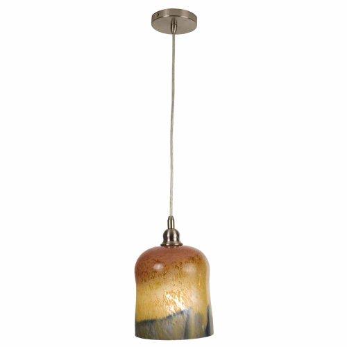 Checkolite 25334-71 Home Design Art Glass, 1-Light Pendant Brushed Nickel