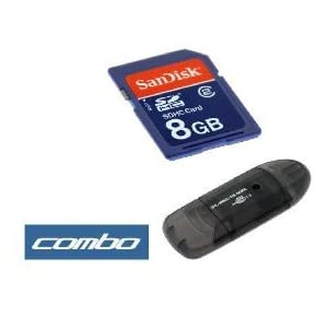 Sandisk 8gb Sdhc Sd Memory Card with Adapter + Black USB Memory Card Reader for Canon Powershot Digital Camera