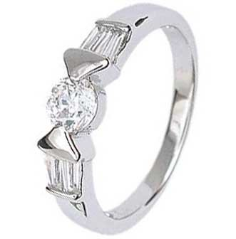 Sterling Silver Engagement Ring With Round Cubic Zirconia in Bar Setting