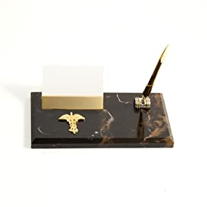 Marble Desk Pen Stand and Business Card Holder with Brass Medical, Gold Plated