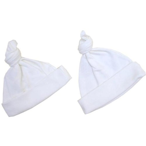 Premature Early Baby Clothes Pack of 2 Knotted Hats 1.5lb, 3.5lb, 5.5lb,7.5lb-10lb White