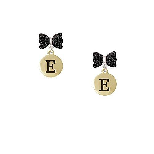 Capital Gold Tone Letter - E - Pebble Disc - Black Bella Bow Earrings