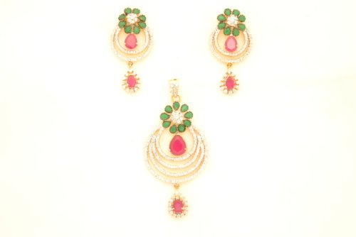 Fashion Balika Fashion Jewelry Gold-Plated Pendant Set For Women Multi-Colour-BFJER127 (Multicolor)