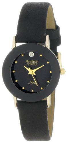 Armitron Women's Black Pig Skin Leather Band Brass Case Quartz Analog Watch 75/2447BLK