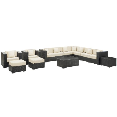 LexMod Cohesion 11-Piece Outdoor Rattan, Espresso with White Cushions