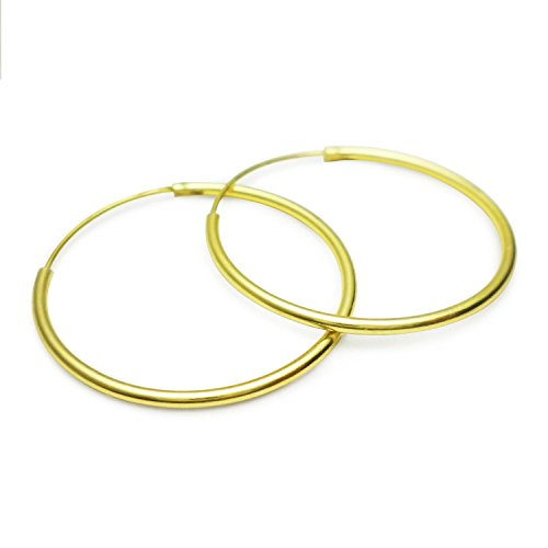 [SLJ - 24mm 925 Sterling Silver Endless Hoop Earrings - Flash Gold Plated] (Punk Costume Nz)