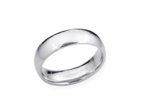 6 mm Polished Finish, CLASSIC STAINLESS STEEL Wedding Band or Promise Ring~ Sz 12