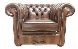 Chesterfield Low Back Club ArmChair Antique Brown Leather