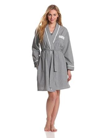 Eileen West Women's Sweet Promise Short Robe, Black/White Check, Small/Medium