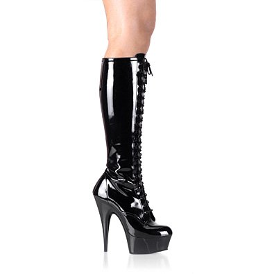Pleaser Boots Women's Delight-2023, 5 3/4 Lace-Up Stretch Platform Knee Boot, Side Zip