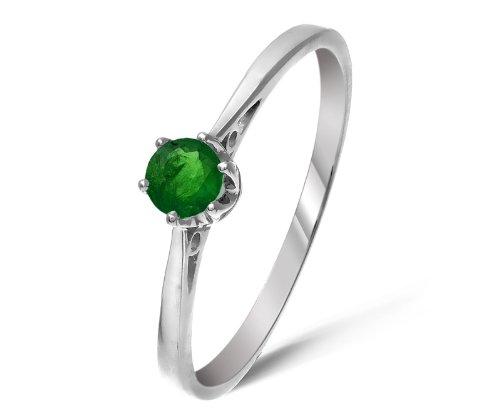 Edler 9 Karat (375) Weißgold Solitär Verlobung Damen – Ring mit Smaragd 0.25 Karat jetzt bestellen