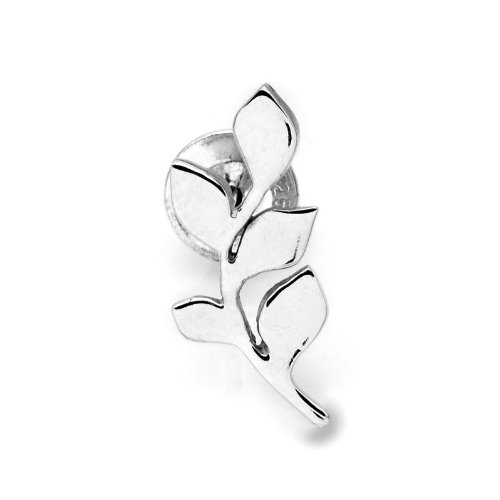 925 Sterling Silver Polished Finish Leaf Single Stud Earring