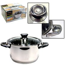 Alpha High Quality Heavy Gage 7.5 Qt Stainless Steel Stock Pot with Glass Lid and innovation handled By Savezoneusa