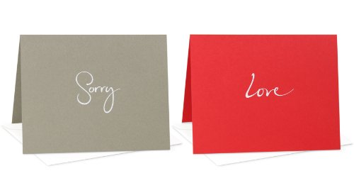 Assorted Box Set of 6 Blank Note Cards: Sorry,