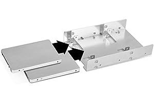 Silverstone Tek 3.5-Inch to 2 X 2.5-Inch Internal Hard Drive HDD / SSD Bay Converter, Silver (SDP08)
