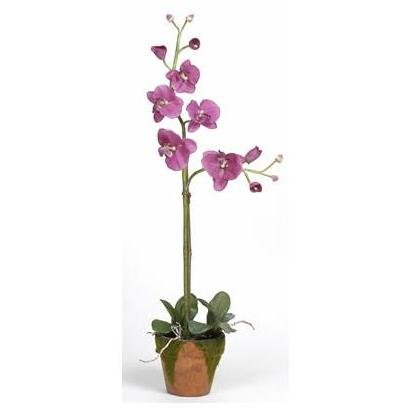 Nearly Natural 4057-LV Phalaenopsis with Moss Pot Silk Orchid Plant Lavender