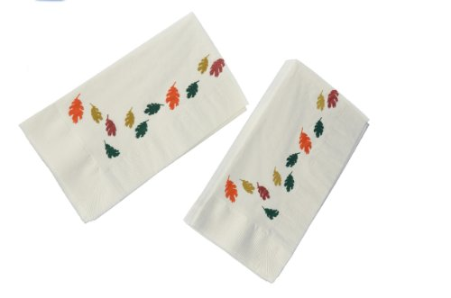"Dinex DXHR431DN01 Paper Autumn Leaves Design 2 Ply Dinner Napkin with 1/8 Fold and Coin Edge Embossed, 17"" Length x 15"" Width (Case of 1000)"