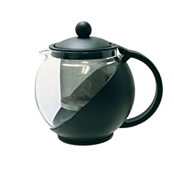 TeaPot with Infuser - 25 oz., Stainless Steel Infuser, Glass Carafe