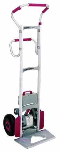 "Magline Clk140Egs4 Aluminum Powered Stair Climbing Hand Truck, Ergo Handle, Pneumatic Wheels, 300Lbs Capacity, 62"" Height, 18"" To 24"" Length X 19"" Width"