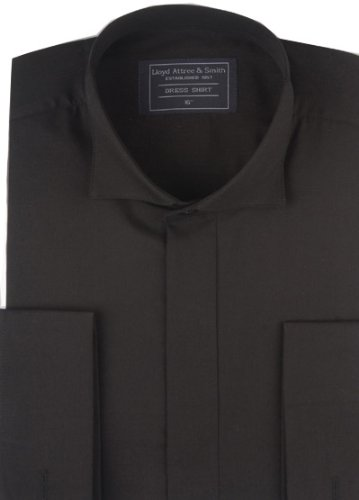 Mens Formal Black Victoria Collar Dress Shirt with Double Cuff 14.5