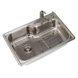 Glacier Bay All-in-One Top Mount Stainless Steel 33x22x8 4-Hole Single Bowl Kitchen Sink by GLACIER BAY