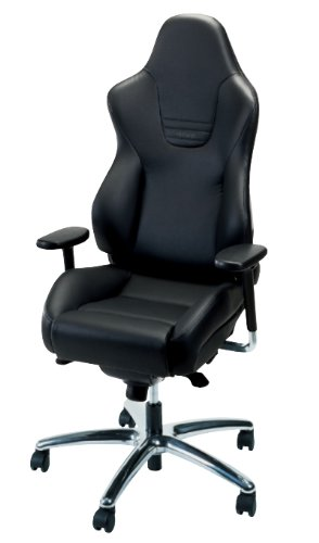 Recaro Sport Office Chair: Suede Without Seatbelt Guides - Black Am Vinyl Bolsters, Grey Suede Inserts front-5745