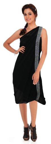 La Leela Sheer Chiffon Designer Sequin Embroidered Beach Swim Hawaiian Sarong Pareo Black