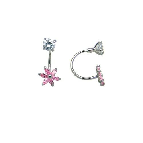 FreshTrends Open Hoop Flower Pink Cubic Zirconia 14KT White Gold Earrings