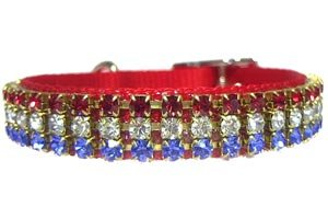 Patriotic Buckle Style Rhinestone Collar - Medium/Large