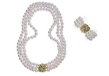 """8.5x9mm AAA Quality Japanese Akoya saltwater cultured pearl necklace 51"""" triple strand Rope"""