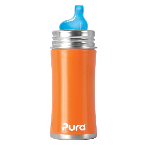 Pura Kiki Stainless Sippy Bottle Stainless Steel with XL Sipper Spout, 11 Ounce, Orange, 6 Months+
