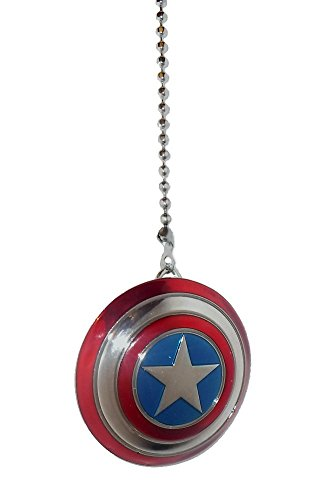 DC & Marvel comics SUPER HERO superhero character PEWTER Ceiling FAN PULL light chain (Pewter CAPTAIN AMERICA shield) (Character Ceiling Fans compare prices)