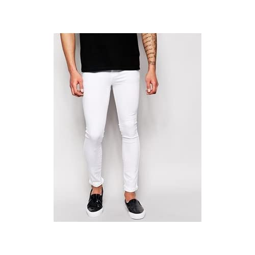 Dr Denim Jeans Kissy Low Spray On Super Skinny White 並行輸入品