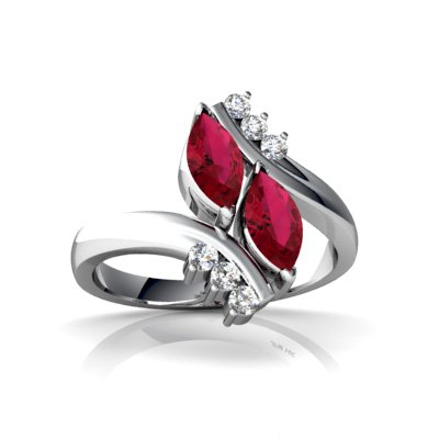Created Ruby 14ct White Gold Bypass Ring