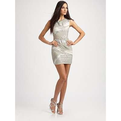 Alice and Olivia Vanda Bandage Shift Dress in Light Grey, 6
