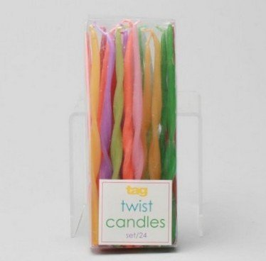 Tag Birthday Cupcake / Cake Twisted Style Party Candles - Set of 24 - 1