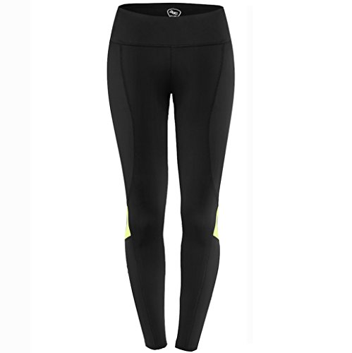 NEW! WOMEN'S Compression Workout Leggings Pants - Non See-through Fabric - Mid-rise Adjustable Drawstring Waistband, Perfect for Running, Yoga, Gym (XL, Fluorescent Green) (Mens Thermal Leggins compare prices)