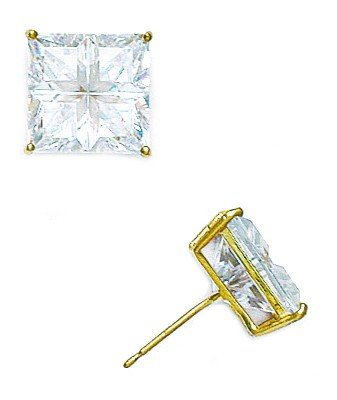 14ct Yellow Gold 10x10mm 4 Segment Square CZ Basket Set Earrings