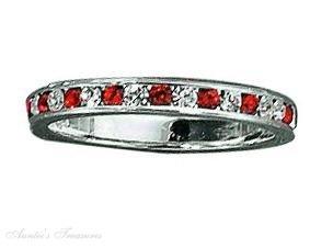 Sterling Silver July Birthstone Eternity Ring Size 7