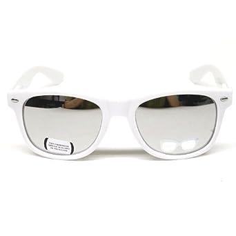 Lunettes de Soleil Style Wayfarer - Geek Retro Vintage 80's - Verres Effet Miroir Revo - Fashion Tendance (Blanc Miroir Argent)