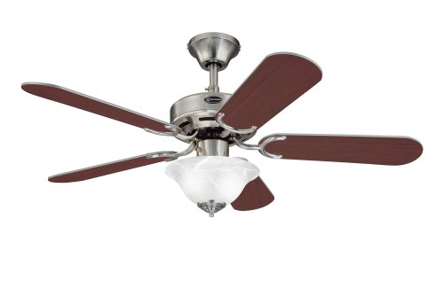 Westinghouse 7877365 Richboro SE Two-Light 42-Inch Reversible Five-Blade Indoor Ceiling Fan, Brushed Nickel with Frosted White Alabaster Glass Bowl (42 In Ceiling Fan Brushed Nickel compare prices)
