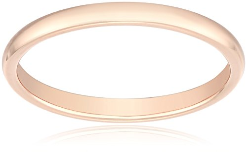 Classic Fit 14K Rose Gold Band, 2mm, Size 8