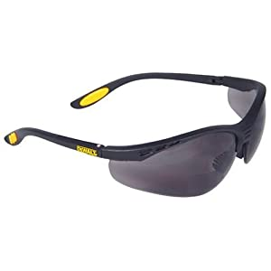 Dewalt DPG59-220C Reinforcer Rx-Bifocal 2.0 Smoke Lens High Performance Protective Safety Glasses with Rubber Temples and Protective Eyeglass Sleeve