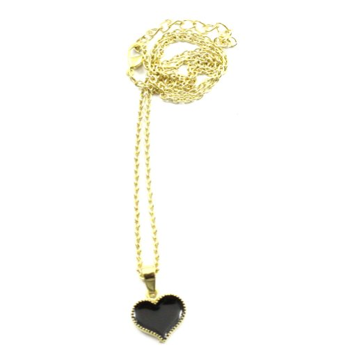 Zehui Fashion Black Korean Style Lovely Cute Love Heart Alloy Necklace