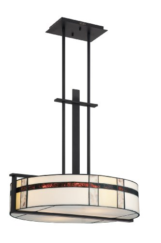 Quoizel TFLU2822K Luxe 4 Light Rod Hung Tiffany Pendant Light