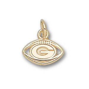 Green Bay Packers 10K Gold Pierced ''G'' Football 1/4'' Pendant